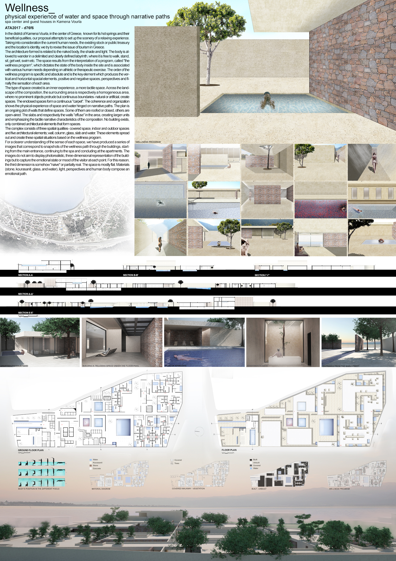 Wellness_physical experience of water and space through narrative paths – spa center and guest houses in Kamena Vourla Board